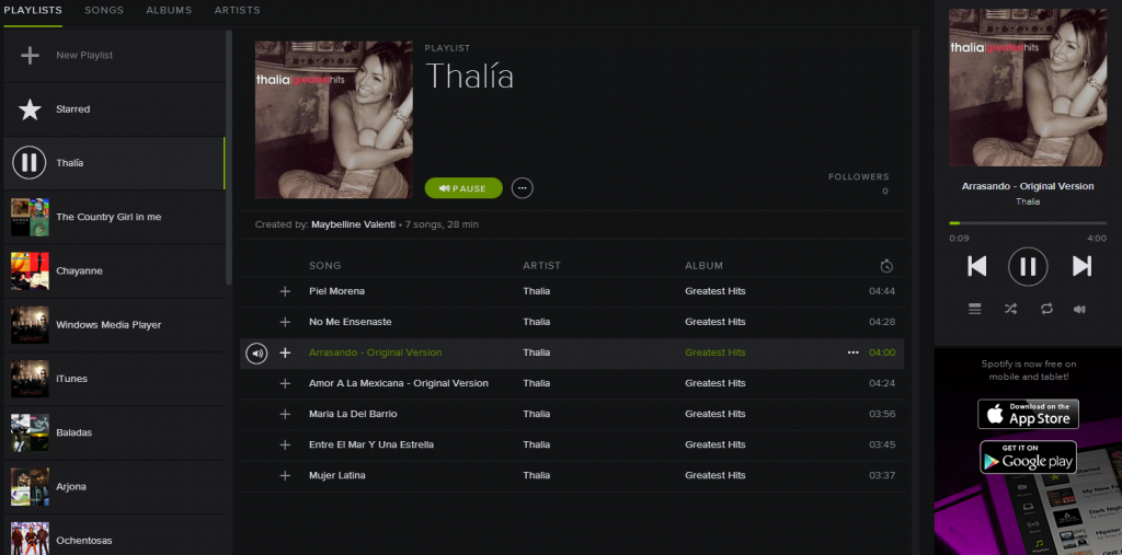 Playlist de Thalia